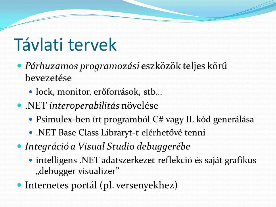 Távlati tervek Párhuzamos programozási eszközök teljes körű bevezetése lock, monitor, erőforrások, stb….NET interoperabilitás növelése Psimulex-ben ír