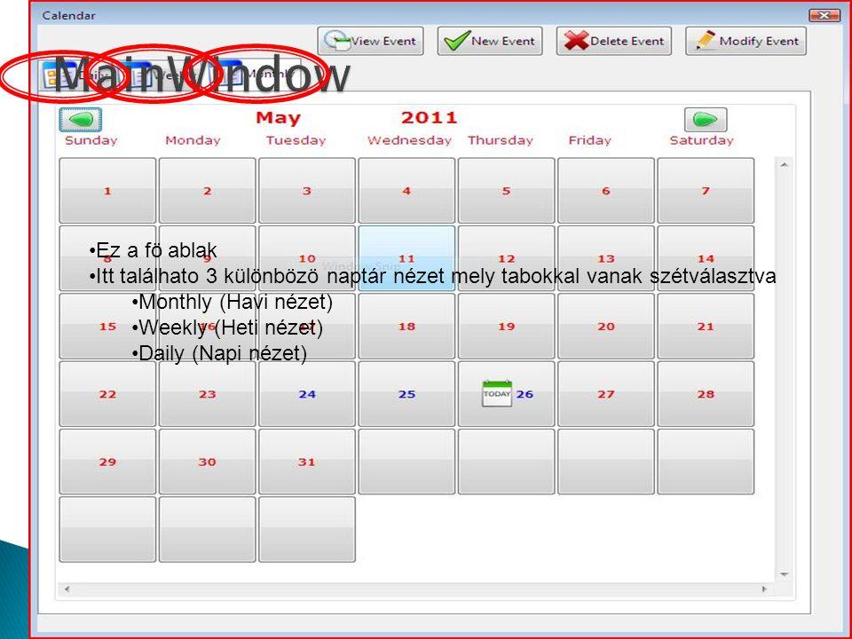 Ez a fö ablak Itt találhato 3 különbözö naptár nézet mely tabokkal vanak szétválasztva Monthly (Havi nézet) Weekly (Heti nézet) Daily (Napi nézet)