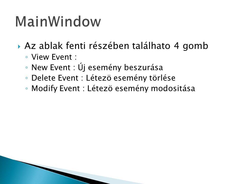  Az ablak fenti részében találhato 4 gomb ◦ View Event : ◦ New Event : Új esemény beszurása ◦ Delete Event : Létezö esemény törlése ◦ Modify Event : Létezö esemény modositása