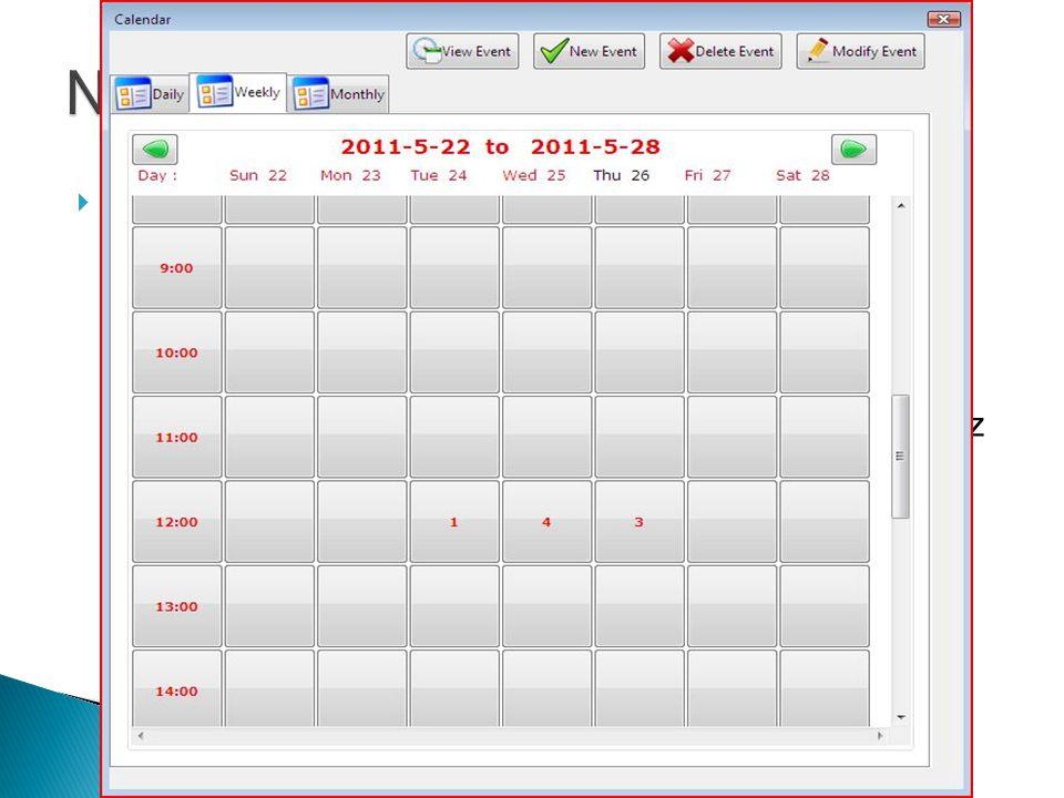  Weekly ◦ Az aktuális honapot mutatja Vasárnaptol – Szombatig, 00:00-tol 23:59-ig.