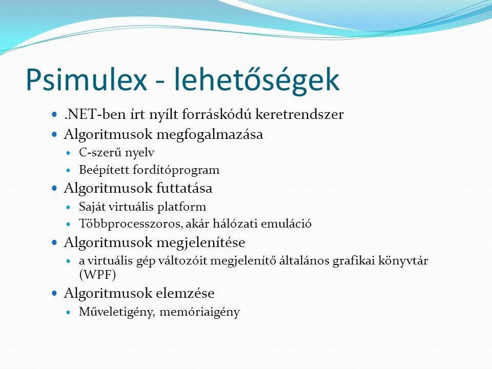 Psimulex - lehetőségek.NET-ben írt nyílt forráskódú keretrendszer Algoritmusok megfogalmazása C-szerű nyelv Beépített fordítóprogram Algoritmusok futtatása Saját virtuális platform Többprocesszoros, akár hálózati emuláció Algoritmusok megjelenítése a virtuális gép változóit megjelenítő általános grafikai könyvtár (WPF) Algoritmusok elemzése Műveletigény, memóriaigény