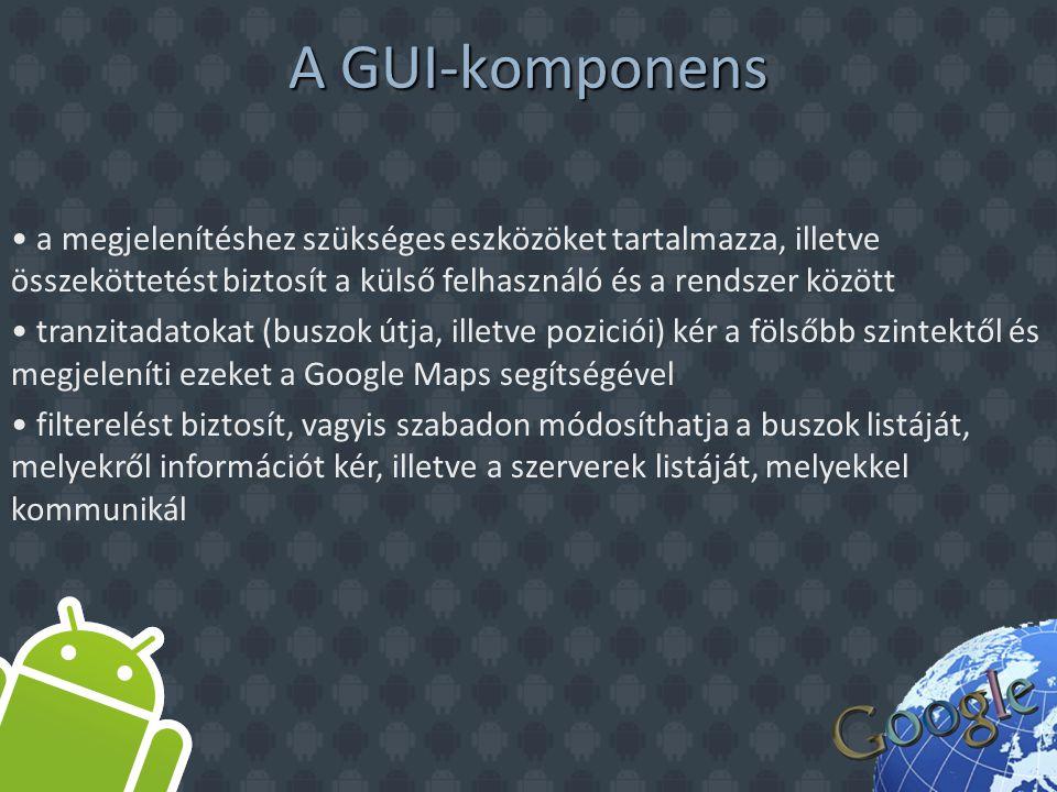A GUI-komponens a megjelenítéshez szükséges eszközöket tartalmazza, illetve összeköttetést biztosít a külső felhasználó és a rendszer között tranzitadatokat (buszok útja, illetve poziciói) kér a fölsőbb szintektől és megjeleníti ezeket a Google Maps segítségével filterelést biztosít, vagyis szabadon módosíthatja a buszok listáját, melyekről információt kér, illetve a szerverek listáját, melyekkel kommunikál