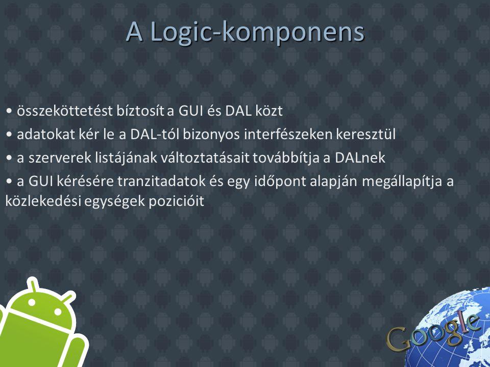 A DAL komponens a Logic komponens használja, amely rajta keresztül adatokat kérhet le a szerver(ek)ről HTTP protokollal csatlakozik a szerverhez, és XML formátumban kap adatot csak szükség esetén tölt le új adatokat (ha nem töltötte és cache-elte el azelőtt)