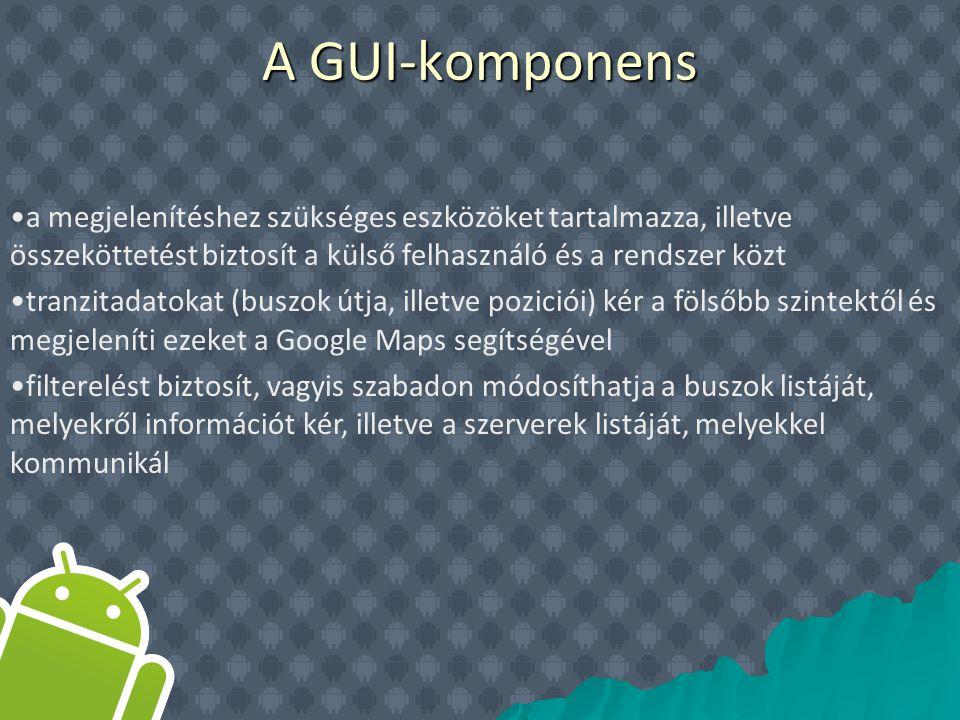 a megjelenítéshez szükséges eszközöket tartalmazza, illetve összeköttetést biztosít a külső felhasználó és a rendszer közt tranzitadatokat (buszok útja, illetve poziciói) kér a fölsőbb szintektől és megjeleníti ezeket a Google Maps segítségével filterelést biztosít, vagyis szabadon módosíthatja a buszok listáját, melyekről információt kér, illetve a szerverek listáját, melyekkel kommunikál A GUI-komponens