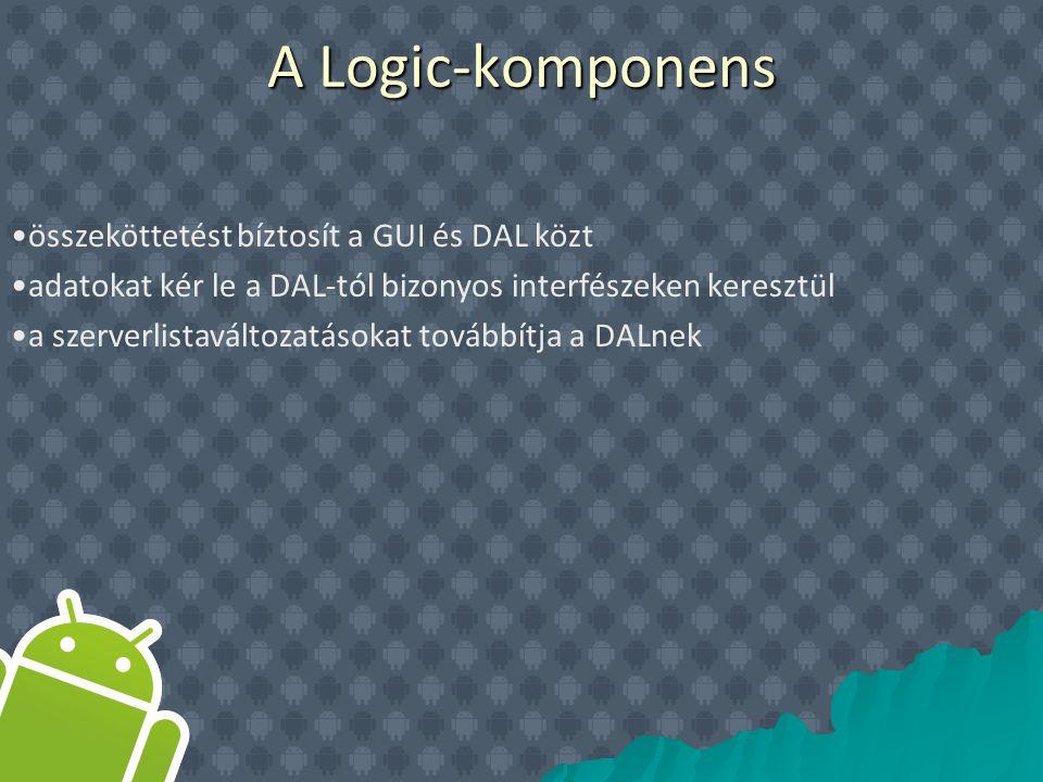 összeköttetést bíztosít a GUI és DAL közt adatokat kér le a DAL-tól bizonyos interfészeken keresztül a szerverlistaváltozatásokat továbbítja a DALnek A Logic-komponens