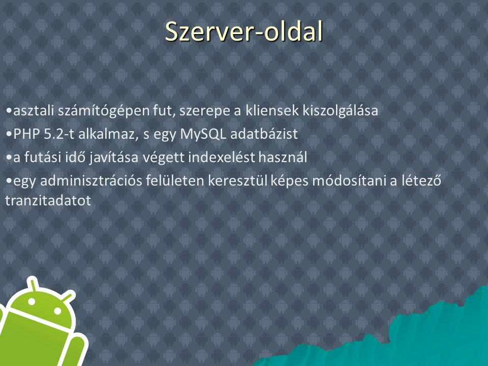 asztali számítógépen fut, szerepe a kliensek kiszolgálása PHP 5.2-t alkalmaz, s egy MySQL adatbázist a futási idő javítása végett indexelést használ egy adminisztrációs felületen keresztül képes módosítani a létező tranzitadatotSzerver-oldal