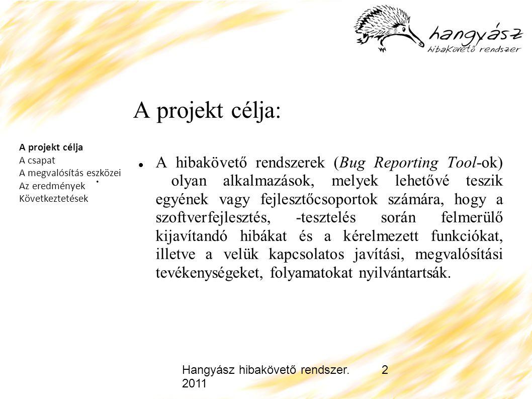 Hangyász hibakövető rendszer. 2011 2 A projekt célja: A hibakövető rendszerek (Bug Reporting Tool-ok) olyan alkalmazások, melyek lehetővé teszik egyén