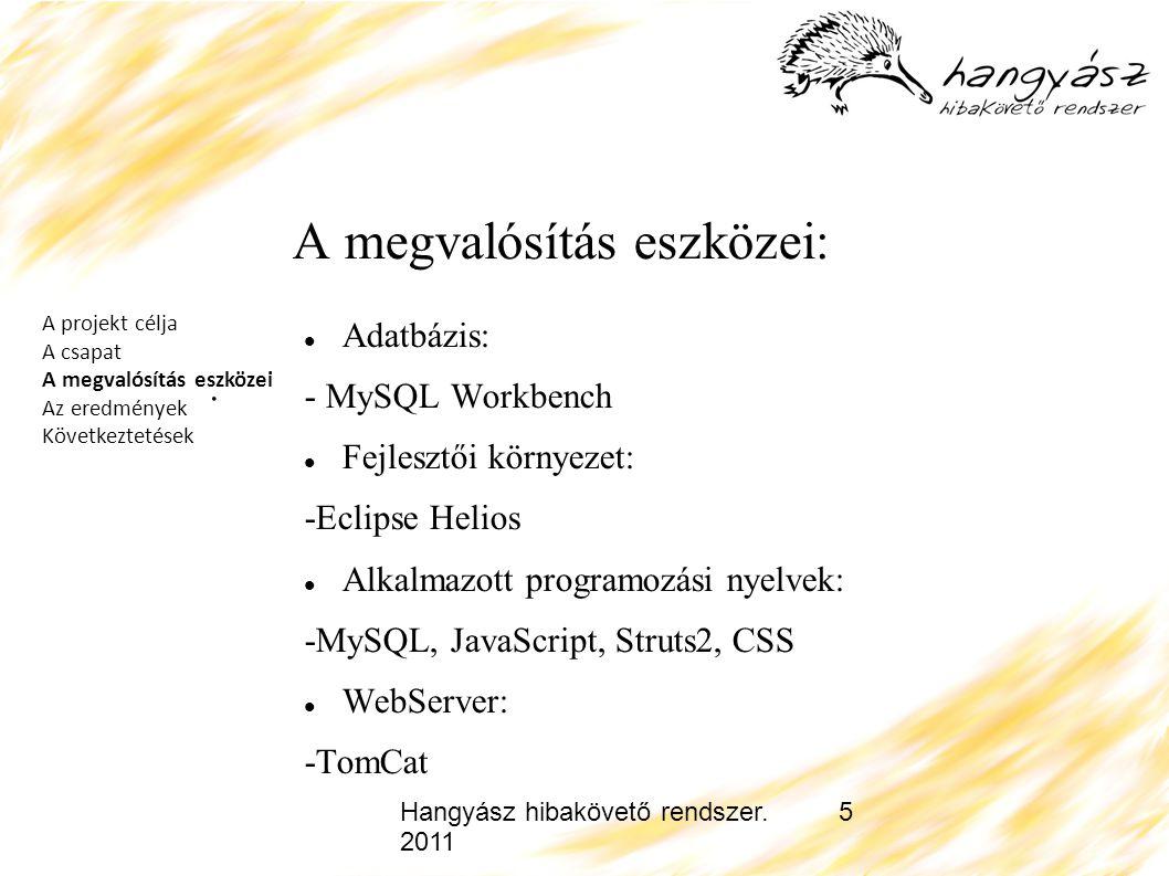 Hangyász hibakövető rendszer. 2011 5 A megvalósítás eszközei: Adatbázis: - MySQL Workbench Fejlesztői környezet: -Eclipse Helios Alkalmazott programoz