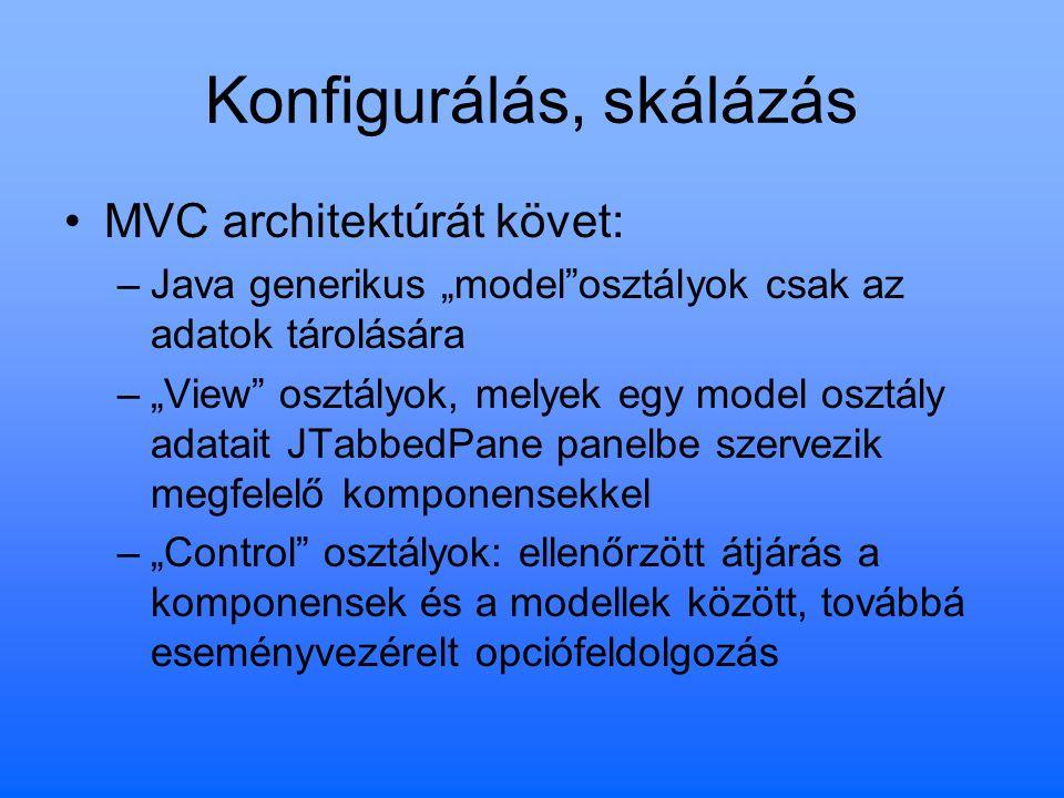 """Konfigurálás, skálázás MVC architektúrát követ: –Java generikus """"model""""osztályok csak az adatok tárolására –""""View"""" osztályok, melyek egy model osztály"""