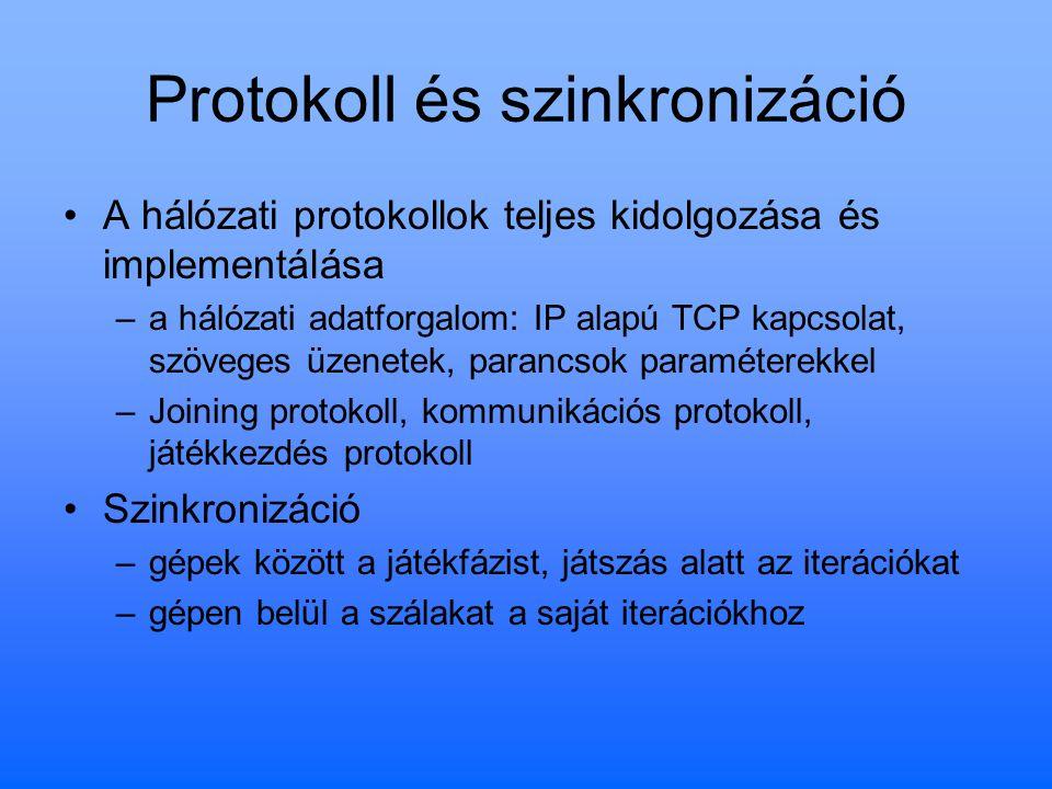 Protokoll és szinkronizáció A hálózati protokollok teljes kidolgozása és implementálása –a hálózati adatforgalom: IP alapú TCP kapcsolat, szöveges üze