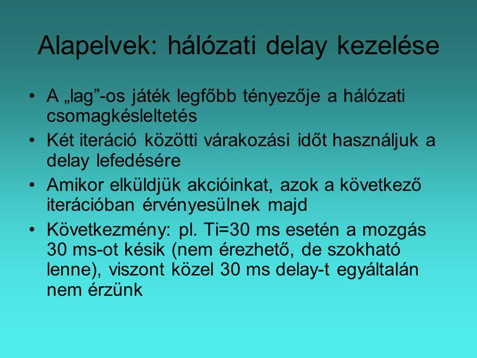 """Alapelvek: hálózati delay kezelése A """"lag -os játék legfőbb tényezője a hálózati csomagkésleltetés Két iteráció közötti várakozási időt használjuk a delay lefedésére Amikor elküldjük akcióinkat, azok a következő iterációban érvényesülnek majd Következmény: pl."""