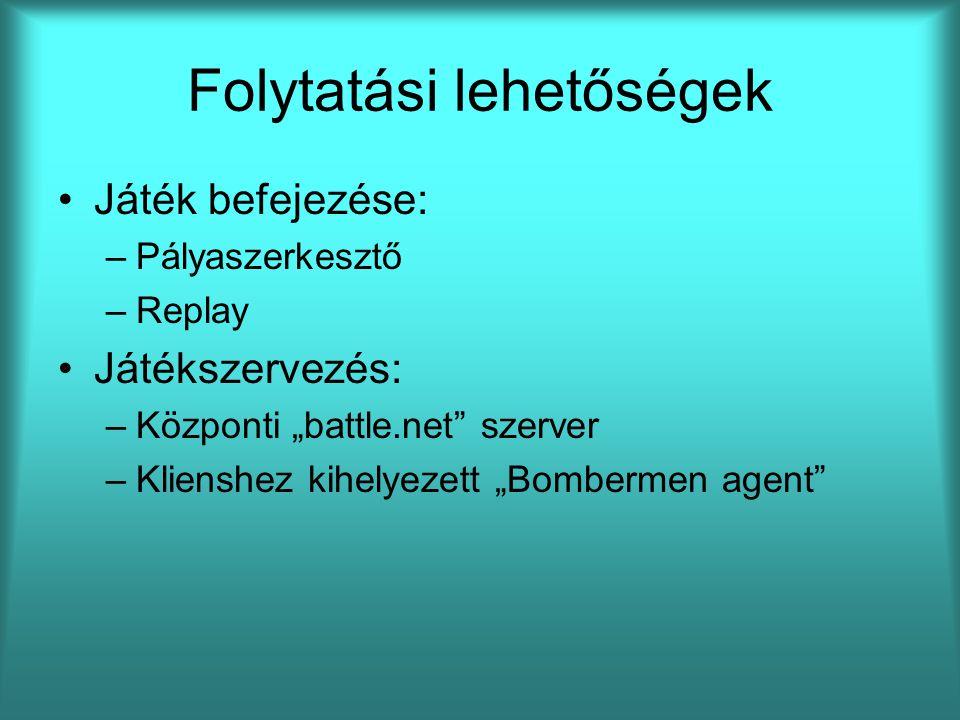 """Folytatási lehetőségek Játék befejezése: –Pályaszerkesztő –Replay Játékszervezés: –Központi """"battle.net"""" szerver –Klienshez kihelyezett """"Bombermen age"""