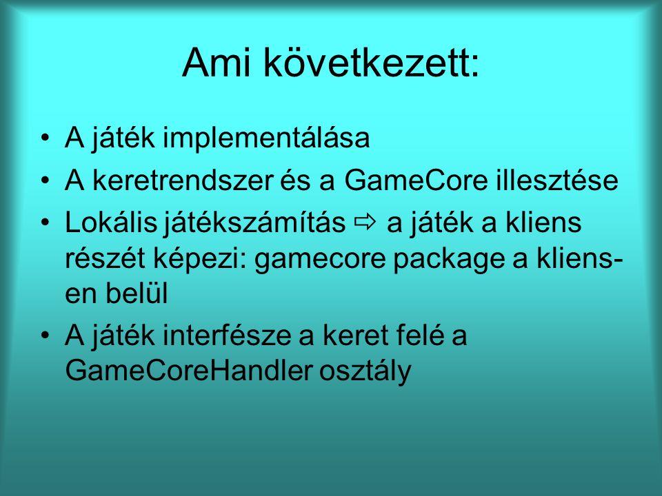 Ami következett: A játék implementálása A keretrendszer és a GameCore illesztése Lokális játékszámítás  a játék a kliens részét képezi: gamecore package a kliens- en belül A játék interfésze a keret felé a GameCoreHandler osztály