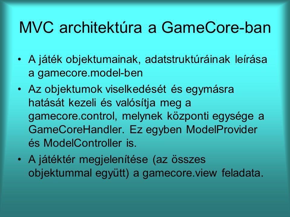 MVC architektúra a GameCore-ban A játék objektumainak, adatstruktúráinak leírása a gamecore.model-ben Az objektumok viselkedését és egymásra hatását k