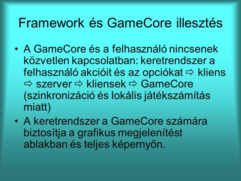 Framework és GameCore illesztés A GameCore és a felhasználó nincsenek közvetlen kapcsolatban: keretrendszer a felhasználó akcióit és az opciókat  kliens  szerver  kliensek  GameCore (szinkronizáció és lokális játékszámítás miatt) A keretrendszer a GameCore számára biztosítja a grafikus megjelenítést ablakban és teljes képernyőn.