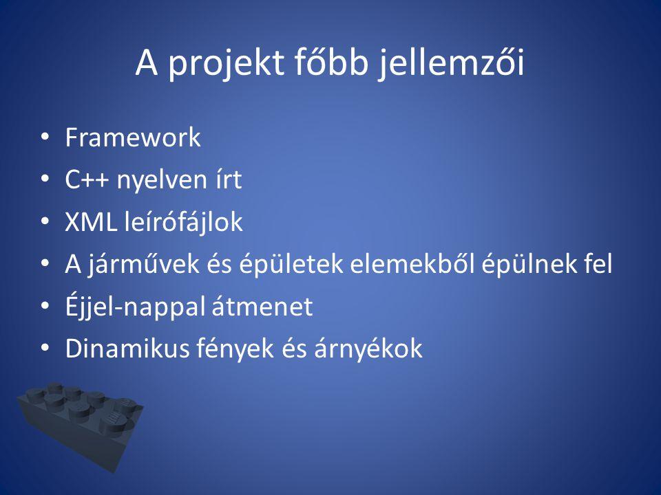 A projekt főbb jellemzői Framework C++ nyelven írt XML leírófájlok A járművek és épületek elemekből épülnek fel Éjjel-nappal átmenet Dinamikus fények és árnyékok