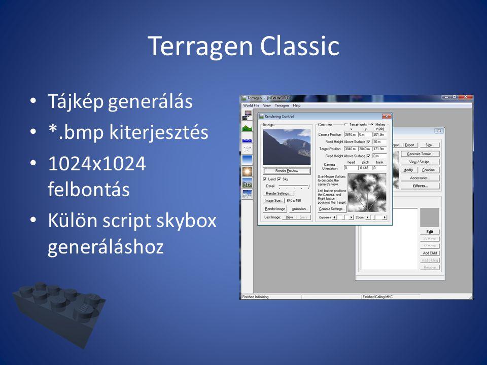 Terragen Classic Tájkép generálás *.bmp kiterjesztés 1024x1024 felbontás Külön script skybox generáláshoz