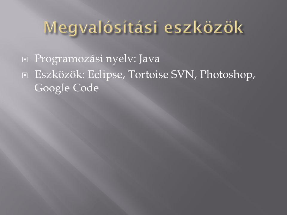  Programozási nyelv: Java  Eszközök: Eclipse, Tortoise SVN, Photoshop, Google Code