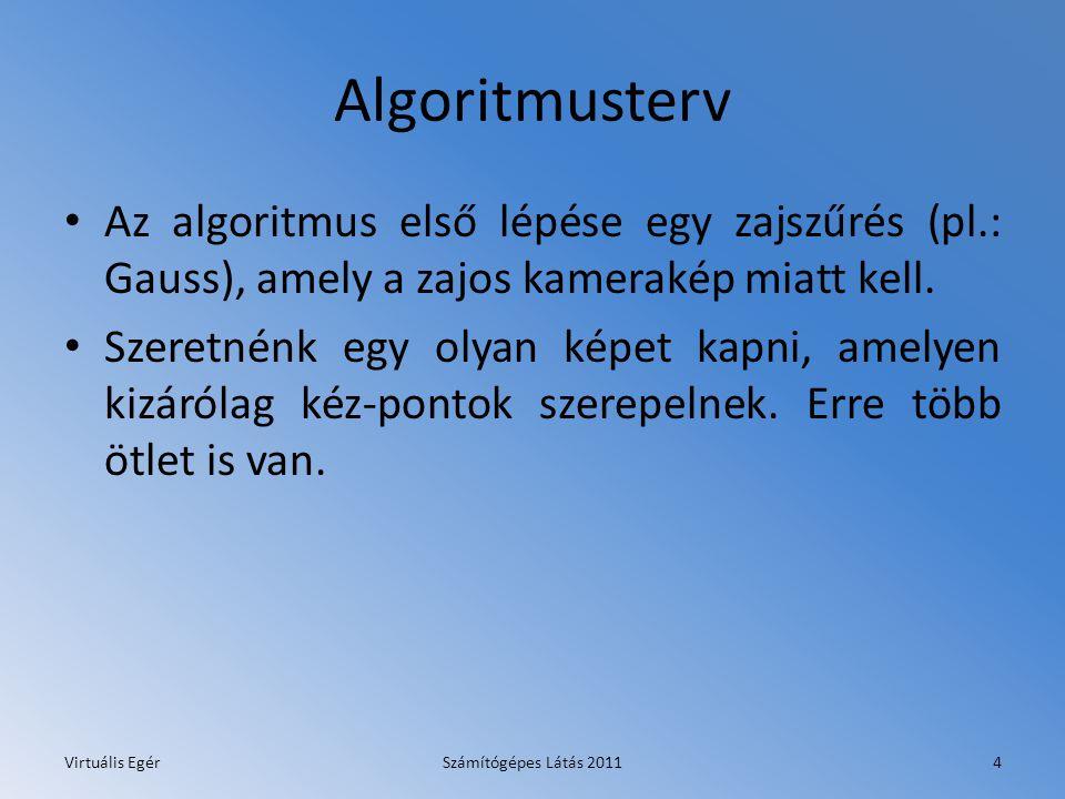 Algoritmusterv Az algoritmus első lépése egy zajszűrés (pl.: Gauss), amely a zajos kamerakép miatt kell. Szeretnénk egy olyan képet kapni, amelyen kiz