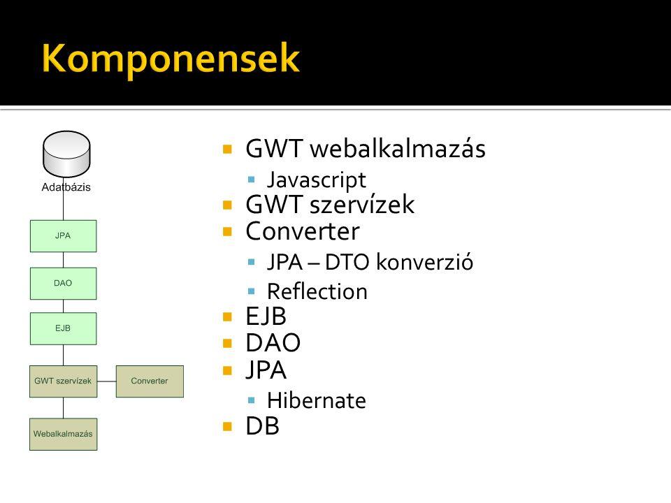  GWT webalkalmazás  Javascript  GWT szervízek  Converter  JPA – DTO konverzió  Reflection  EJB  DAO  JPA  Hibernate  DB