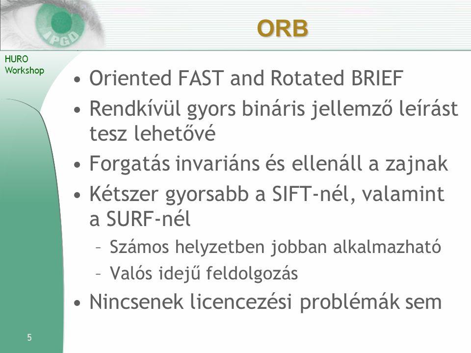 HURO Workshop ORB Oriented FAST and Rotated BRIEF Rendkívül gyors bináris jellemző leírást tesz lehetővé Forgatás invariáns és ellenáll a zajnak Kétsz