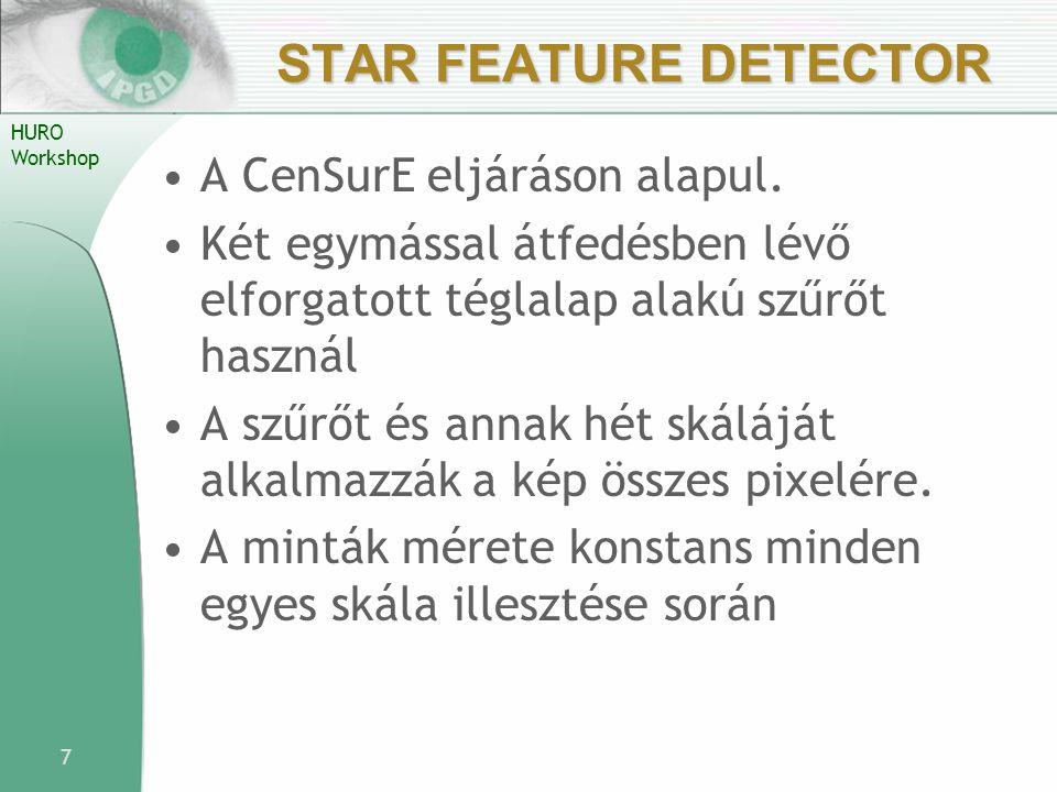HURO Workshop STAR FEATURE DETECTOR A CenSurE eljáráson alapul. Két egymással átfedésben lévő elforgatott téglalap alakú szűrőt használ A szűrőt és an