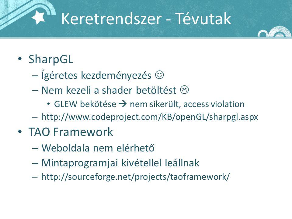Keretrendszer - Tévutak SharpGL – Ígéretes kezdeményezés – Nem kezeli a shader betöltést  GLEW bekötése  nem sikerült, access violation – http://www