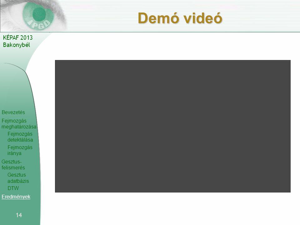 Bevezetés Fejmozgás meghatározása Fejmozgás detektálása Fejmozgás iránya Gesztus- felismerés Gesztus adatbázis DTW Eredmények KÉPAF 2013 Bakonybél Demó videó 14