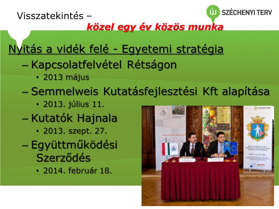 közel egy év közös munka Visszatekintés – közel egy év közös munka Nyitás a vidék felé - Egyetemi stratégia – Kapcsolatfelvétel Rétságon 2013 május 2013 május – Semmelweis Kutatásfejlesztési Kft alapítása 2013.