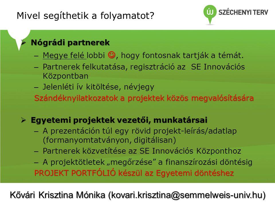 Mivel segíthetik a folyamatot?  Nógrádi partnerek – Megye felé lobbi, hogy fontosnak tartják a témát. – Partnerek felkutatása, regisztráció az SE Inn