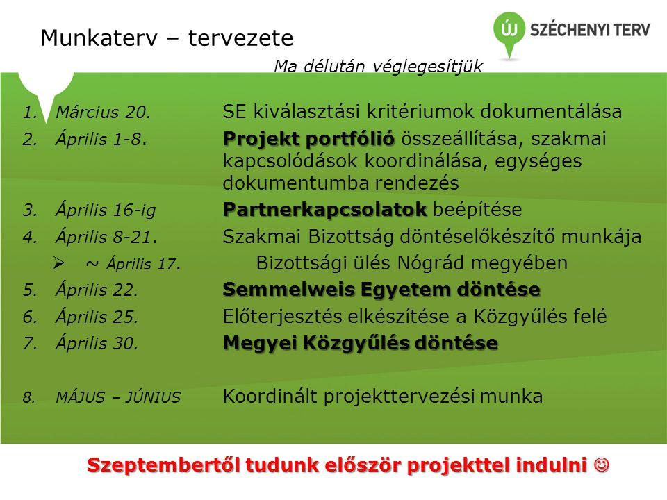 Munkaterv – tervezete Ma délután véglegesítjük 1.Március 20. SE kiválasztási kritériumok dokumentálása Projekt portfólió 2.Április 1-8. Projekt portfó