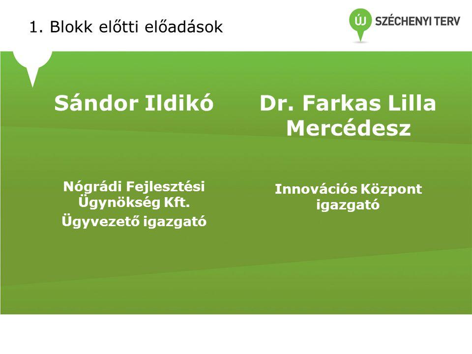 1. Blokk előtti előadások Sándor Ildikó Nógrádi Fejlesztési Ügynökség Kft.