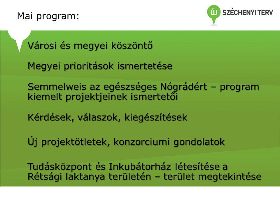 Mai program: Városi és megyei köszöntő Megyei prioritások ismertetése Semmelweis az egészséges Nógrádért – program kiemelt projektjeinek ismertetői Kérdések, válaszok, kiegészítések Új projektötletek, konzorciumi gondolatok Tudásközpont és Inkubátorház létesítése a Rétsági laktanya területén – terület megtekintése