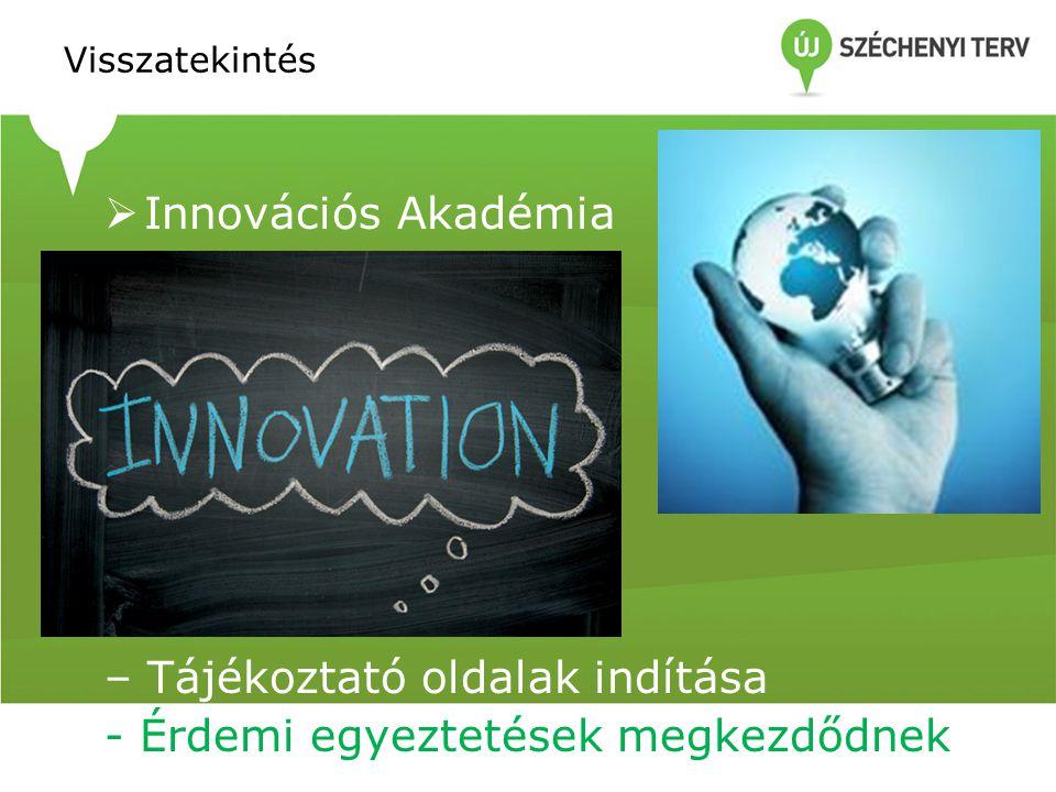 Visszatekintés  Innovációs Akadémia  – Tájékoztató oldalak indítása - Érdemi egyeztetések megkezdődnek