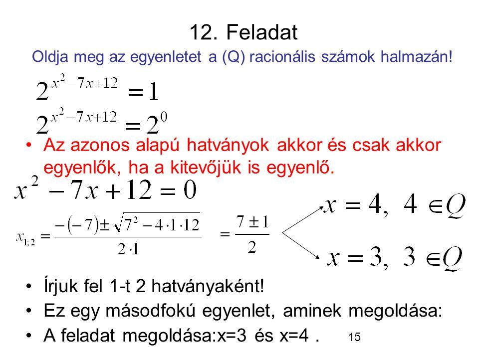 15 12. Feladat Oldja meg az egyenletet a (Q) racionális számok halmazán! Írjuk fel 1-t 2 hatványaként! Ez egy másodfokú egyenlet, aminek megoldása: A
