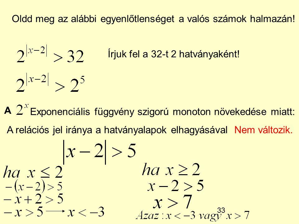 33 Oldd meg az alábbi egyenlőtlenséget a valós számok halmazán! Írjuk fel a 32-t 2 hatványaként! A Exponenciális függvény szigorú monoton növekedése m