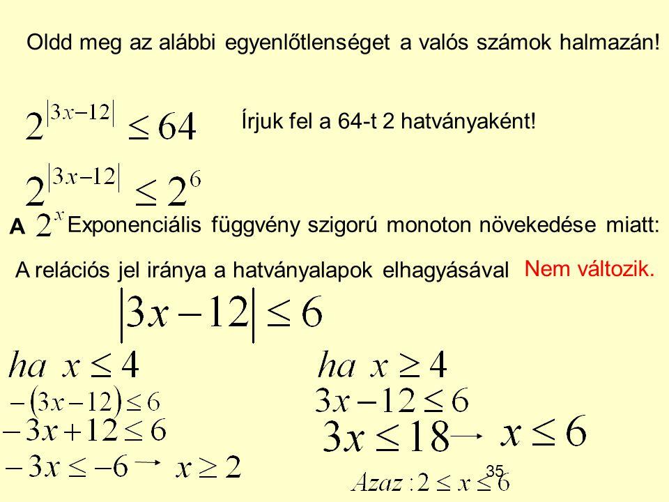 35 Oldd meg az alábbi egyenlőtlenséget a valós számok halmazán! Írjuk fel a 64-t 2 hatványaként! A Exponenciális függvény szigorú monoton növekedése m