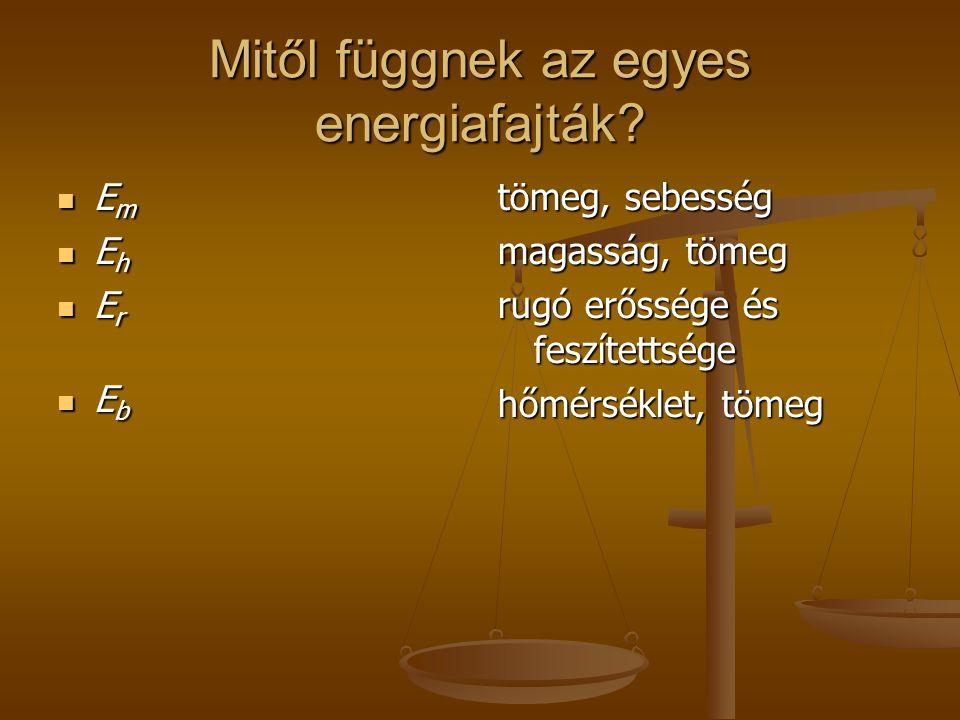 Mitől függnek az egyes energiafajták.