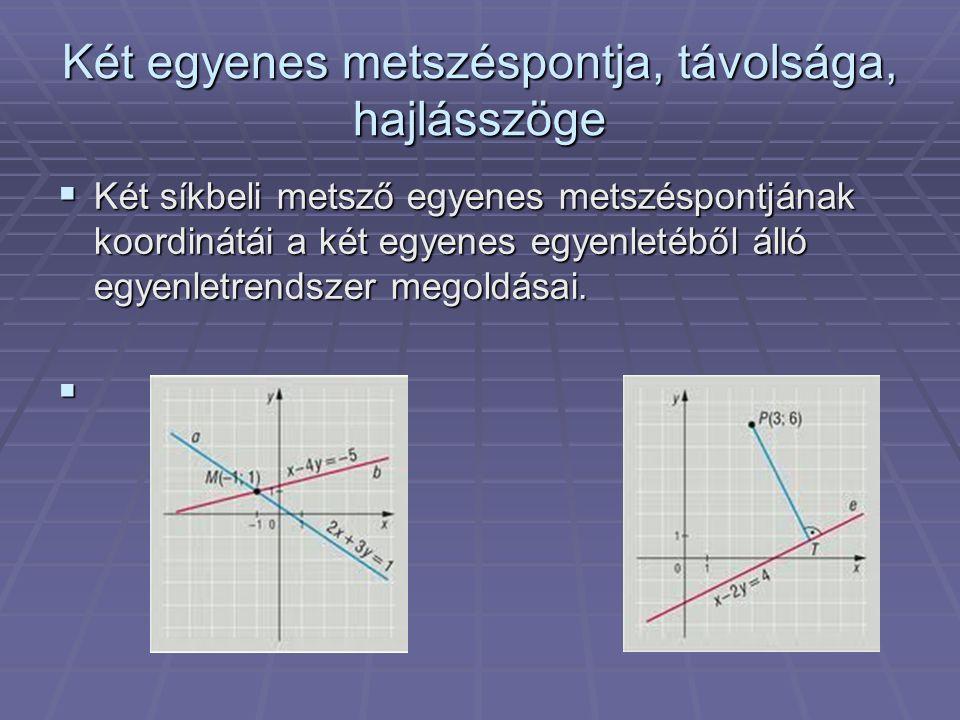 Két egyenes metszéspontja, távolsága, hajlásszöge  Két síkbeli metsző egyenes metszéspontjának koordinátái a két egyenes egyenletéből álló egyenletre
