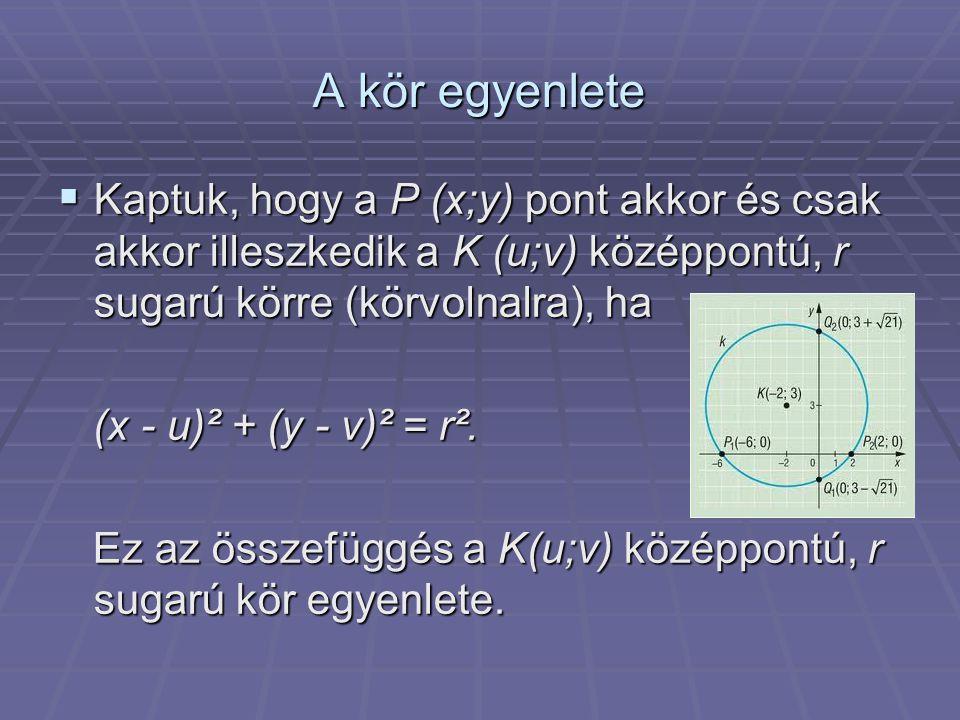 A kör egyenlete  Kaptuk, hogy a P (x;y) pont akkor és csak akkor illeszkedik a K (u;v) középpontú, r sugarú körre (körvolnalra), ha (x - u)² + (y - v