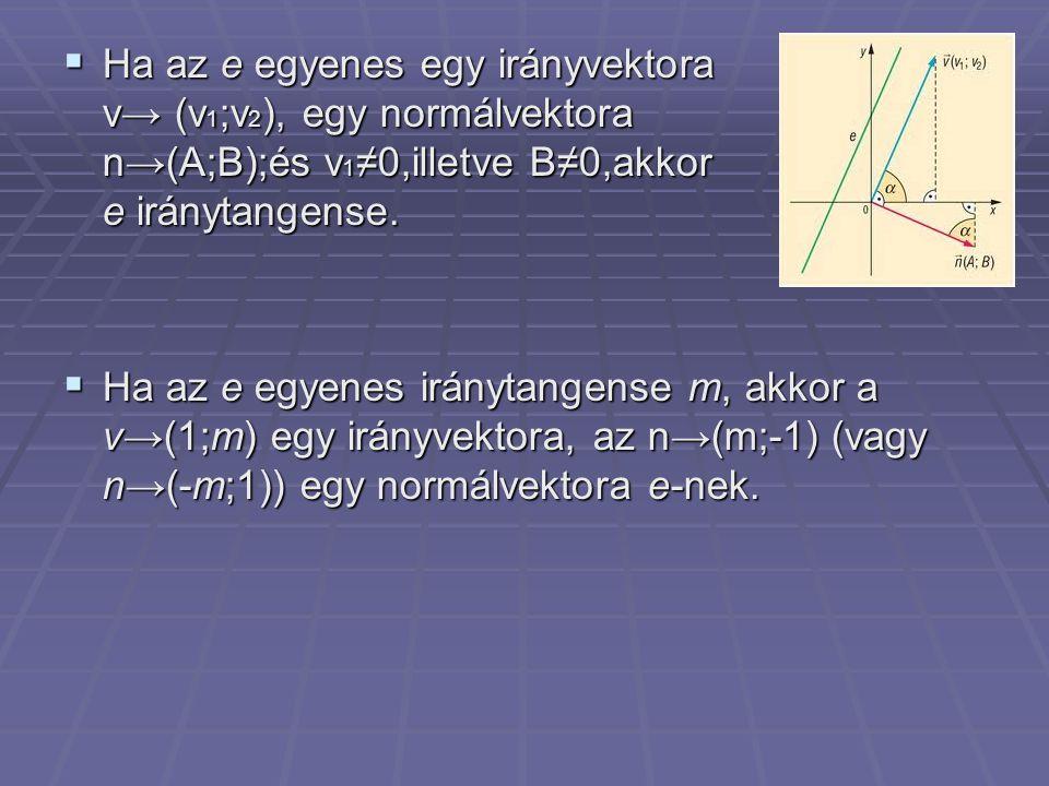  Ha az e egyenes egy irányvektora v→ (v 1 ;v 2 ), egy normálvektora n→(A;B);és v 1 ≠0,illetve B≠0,akkor az e iránytangense.  Ha az e egyenes irányta