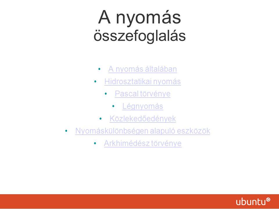 Nyomás nyomóerő nyomott felület = N m 2 = p p = Pa 1 Pa = 1 Fny A