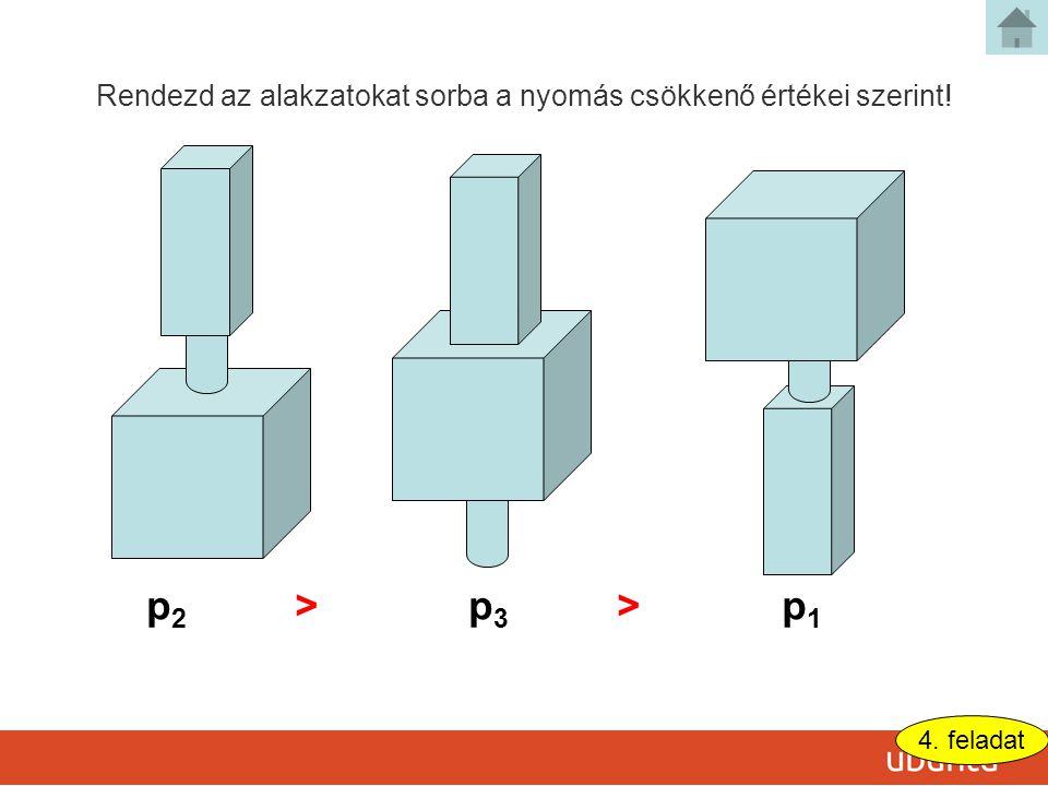 p2p2 >p3p3 p1p1 > Rendezd az alakzatokat sorba a nyomás csökkenő értékei szerint! 4. feladat