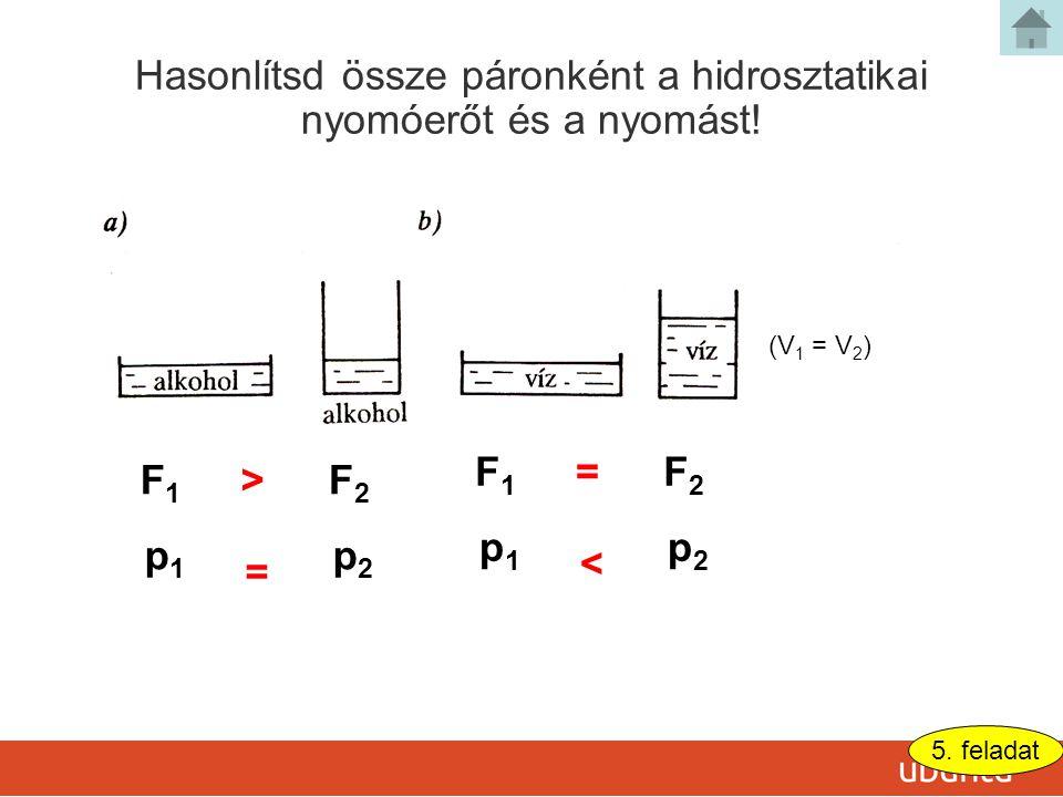 5.feladat Hasonlítsd össze páronként a hidrosztatikai nyomóerőt és a nyomást.