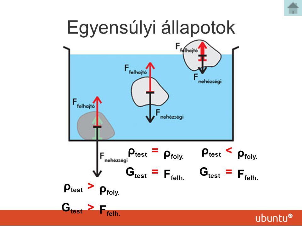 Egyensúlyi állapotok ρ test > ρ foly.G test > F felh.