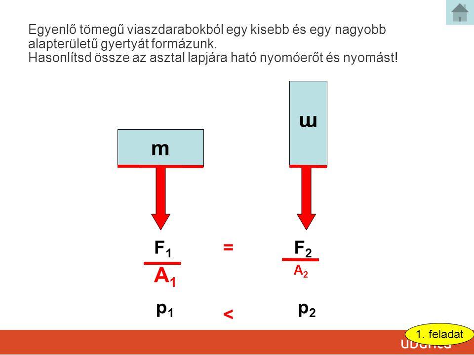 m m F1F1 F2F2 p1p1 p2p2 = < Egyenlő tömegű viaszdarabokból egy kisebb és egy nagyobb alapterületű gyertyát formázunk.