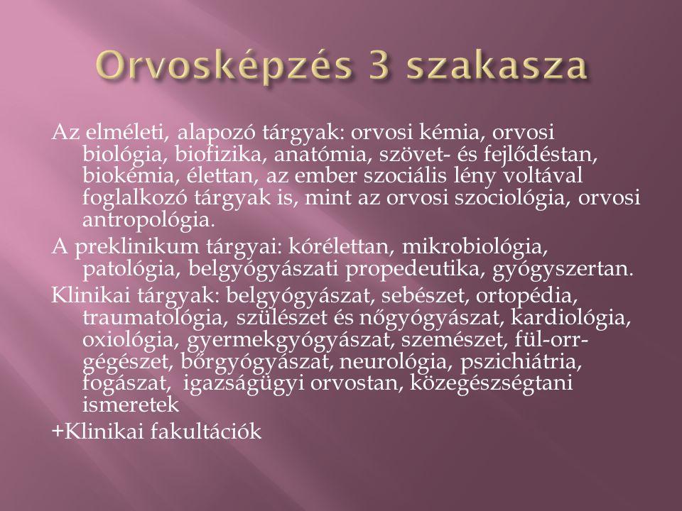 Az elméleti, alapozó tárgyak: orvosi kémia, orvosi biológia, biofizika, anatómia, szövet- és fejlődéstan, biokémia, élettan, az ember szociális lény v