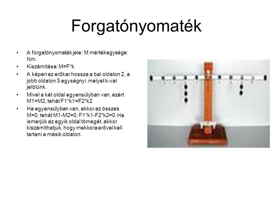 Forgatónyomaték A forgatónyomaték jele: M mértékegysége: Nm. Kiszámítása: M=F*k A képen az erőkar hossza a bal oldalon 2, a jobb oldalon 3 egységnyi,