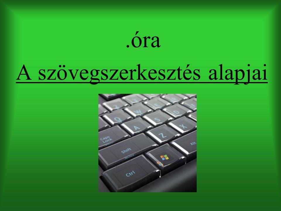 Szövegszerkesztők története írógép Wordstar (1979): Kezdetleges felület, nehézkes formázás Word 1-2.0 (1983): Nyomtatási kép, könnyebb formázás, lézernyomtató WordPerfect (1985) Word 3 (1986): Helyesírás ellenőrző Word for Windows: Windowsra Word 95, 97, 2000, 2003, 2007…