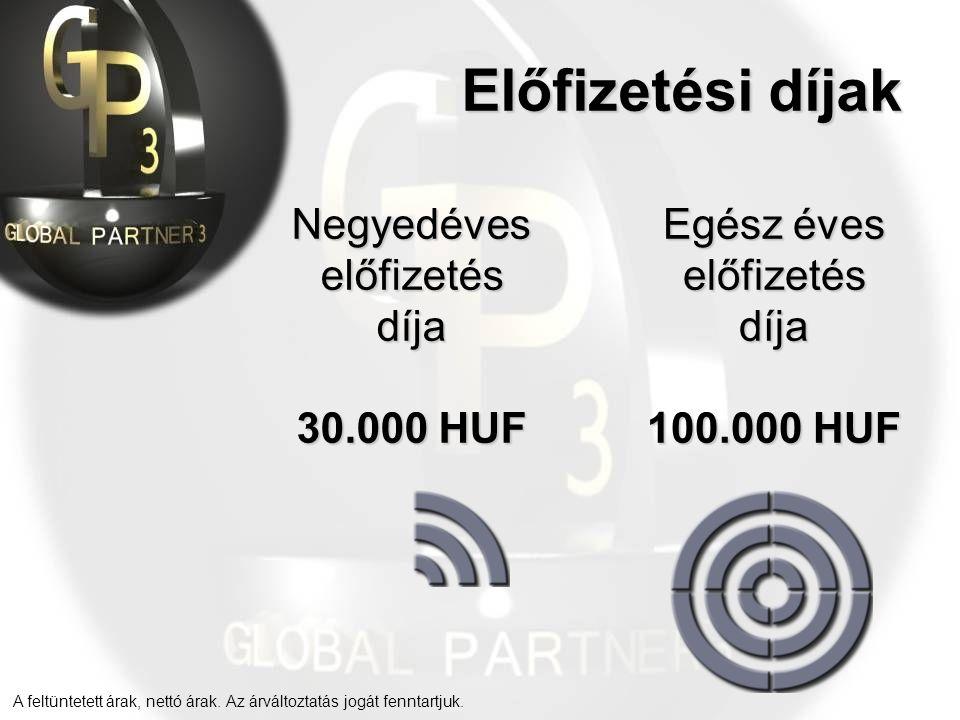 Előfizetési díjak Negyedéves előfizetés díja 30.000 HUF Egész éves előfizetés díja 100.000 HUF A feltüntetett árak, nettó árak.